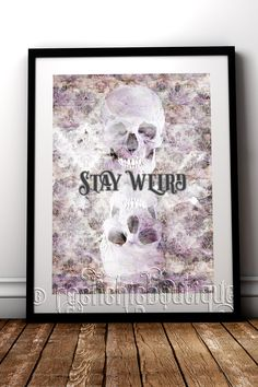 Unusual skull art print for your alternative home decor #RockChicBoutique #Skulls #WallArt