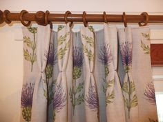 Double Pleated Interlined Curtain  Purple Thistle Fabric Curtains, Interiors, Shower, Living Room, Purple, Fabric, Prints, Home Decor, Rain Shower Heads