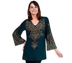 Effortless Style by Citiknits Printed Tunic w/ Pleat Detail
