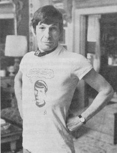 "Awesome!! - Leonard Nimoy wearing a ""Leonard Who?"" shirt. Yes!"