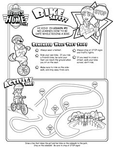 Bike Safety Activity Sheet (Ages 4 to 7): Decorate the