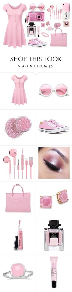 """""""Cute pink"""" by pausteja ❤ liked on Polyvore featuring beauty, ZeroUV, Valfré, Converse, Too Faced Cosmetics, Moschino, Kate Spade, Avon, Gucci and BillyTheTree"""