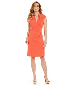 Coral Pleated Crepe Dress/ Perfect spring or summer wedding attire /work wear/ office chic