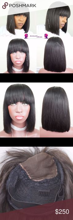 READY TO SHIP BOB WITH BANGS CUSTOM WIG Bob with Bangs Custom Wig Unit | 3 bundles of 12 inch Brazilian Straight hair | 4x4 lace closure in 12 inch | Wig unit is custom made in 21 1/2 inch wig block | made on wig cap with adjustable straps | 2-4 wig combs installed in wig unit | Will install elastic band if needed Accessories Hair Accessories