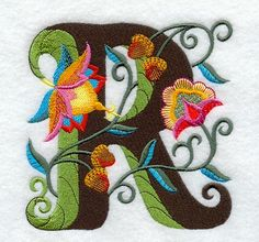 Machine Embroidery Designs at Embroidery Library! - A Jacobean Alphabet Design Pack Inch Height) Bordado Jacobean, Jacobean Embroidery, Embroidery Applique, Beaded Embroidery, Machine Embroidery Designs, Embroidery Stitches, Alphabet Letters Design, Embroidery Letters, Sewing Art