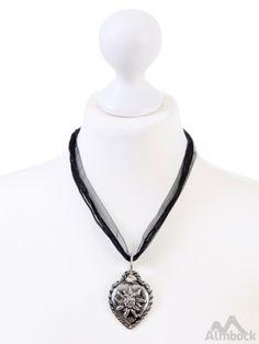 http://www.trachten24.eu/Trachten-Kette-Herz-Edelweiss-K11- - Trachten Kette Herz Edelweiss (K11)  - Bavarian necklace heart edelweiss (K11)