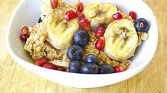 Banana Porridge with pomegranate and Blueberries    #breakfast gluten free recipes #low calorie #oatmeal