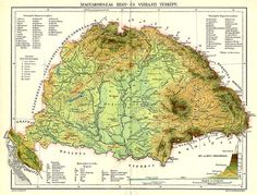 Physical map of the Kingdom of Hungary before 1919 - Ungarn
