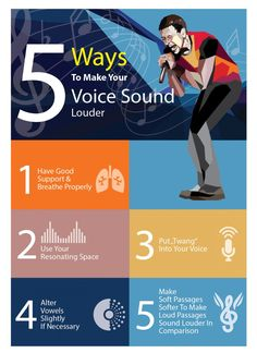 5 Ways to make your Voice sound Louder Vocal Lessons, Singing Lessons, Singing Tips, Music Lessons, Singing Exercises, Vocal Exercises, Voice Training Exercises, Vocal Training, Singing Training