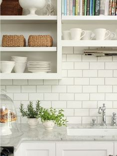 Kitchen: Kitchen Close Up Backsplash White Subway Tiles Dark Grey Grout Open Shelving Shelves Marble Countertops White Cabinets Off White Kitchen Tiles Off White Warm Beige Hand Painted Subway Mosa, Your Kitchen More Beautiful With Off White Subway Tile I White Subway Tile Backsplash, Subway Tile Kitchen, Kitchen Backsplash, Backsplash Ideas, White Tiles, Wall Tiles, White Marble, Kitchen Countertops, Brick Tiles