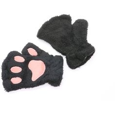 HUELE Fingerless Gloves Cat Claw Bear Paw Style Furry Mitten ,Black (17 PLN) ❤ liked on Polyvore featuring accessories, gloves, claw gloves, bear gloves, fingerless mitten gloves, fingerless gloves and cat mittens