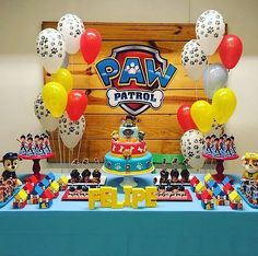 how to decorate candy bar paw patrol with balloons 4th Birthday Parties, Boy Birthday, Birthday Ideas, Paw Patrol Birthday Theme, Paw Patrol Decorations, Paw Patrol Cake, Baby Party, First Birthdays, Just In Case