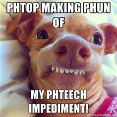 Phtop making phun of My phteech impediment!    Phteven Dog