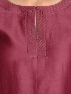 Buy Maroon Zari Stitch Detailed Chanderi Kurta by Jaypore Online Salwar Neck Patterns, Churidar Neck Designs, Salwar Pattern, Kurta Designs Women, Salwar Designs, Neck Designs For Suits, Neckline Designs, Designs For Dresses, Dress Neck Designs