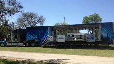 Open Double Expandable stage trailer with rooftop deck