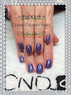 Christmas tree nails created using CND Shellac Purple Purple, Silver Chrome, Ice Vapor and Swarovski Crystals. Design inspired by xDBDx created by Claire's Creative Nails, Northampton. Call or text: 07752 397245 to book your appointment. #shellacnailsnorthampton #cndshellacnorthampton #swarovskicrystalnailsnorthampton  #nailartnorthampton #nailsalonnorthampton