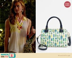 Paige's bug printed bag on Royal Pains.  Outfit Details: http://wornontv.net/34090/ #RoyalPains