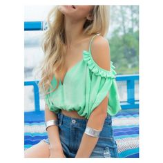 Green Deep V Neck Ruffle Cold Shoulder Blouse ($11) ❤ liked on Polyvore featuring tops, blouses, open shoulder blouse, frilly blouse, green blouse, flounce blouse and deep v neck top