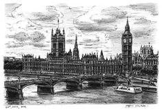Houses of Parliament (London) - originals and prints by Stephen Wiltshire MBE London Art, London Photos, Houses Of Parliament London, Stephen Wiltshire, Autistic Artist, London Drawing, Nice Designs, Observational Drawing, Building Sketch