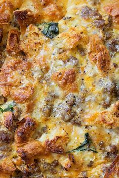 Overnight Sausage, Egg and Croissant Breakfast Bake | lifemadesimplebakes.com