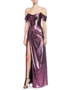 e4476043 Marchesa Notte: Sexy and glam purple metallic off shoulder gown with slit.  Drag Dresses