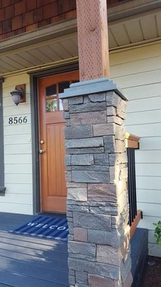 GenStone Stacked Stone in. Kenai Faux Pillar Panel at The Home Depot - Mobile Stone Porches, House Exterior, Porch Makeover, Exterior Brick, Front Porch Stone, Porch Column Wraps, Diy Front Porch, Front Porch Design, Front Porch Pillars