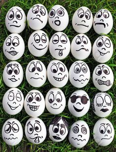 White Eggs And Many Funny Faces Stock Photo, Picture And Royalty Free Image. Image funny White eggs and many funny faces Pebble Painting, Pebble Art, Stone Painting, Eye Painting, Egg Crafts, Easter Crafts, Diy And Crafts, Rock Painting Ideas Easy, Rock Painting Designs