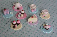 Fondant Tea Party Toppers with Teapot, Teacups, Macaroons, Cupcakes, Cookies and Cakes for Decorating Cupcakes, Cookies