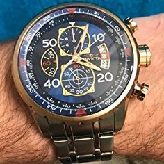 Invicta Men's 17203 AVIATOR Stainless Steel and 18k Rose Gold Ion-Plated Watch Diy Gifts For Men, Just For Men, Luxury Watches For Men, Stainless Steel Case, Quartz Watch, Chronograph, Rose Gold, Silver, Accessories