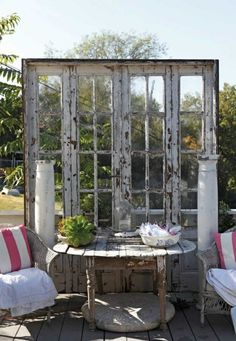 Dishfunctional Designs: New Takes On Old Doors: Salvaged Doors Repurposed Old Windows, Windows And Doors, Recycled Windows, Recycled Wood, Recycled Glass, French Windows, Garden Cottage, Home And Garden, Box Garden