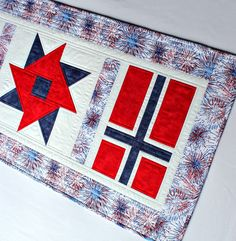 Patriotic Table Runner Quilted, Norway May Norwegian National Day, Red White Blue Etsy Quilts, Norwegian Flag, Flag Quilt, Quilted Table Runners, Patriotic Decorations, Quilt Bedding, Mug Rugs, Norway, Scandinavian