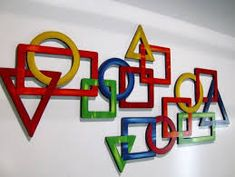New 2 pc Vivid Primary Colored Geometric shapes Wall hanging . Metal Wall Decor, Metal Wall Art, Geometric Wall, Geometric Shapes, Principles Of Design, Math Art, Modern Sculpture, Elements Of Art, Cute Crafts