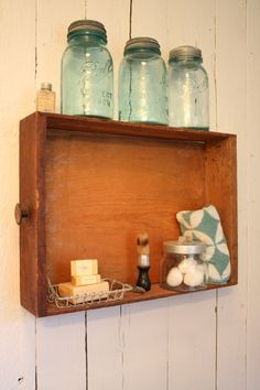 my bathroom shelf made from old drawer