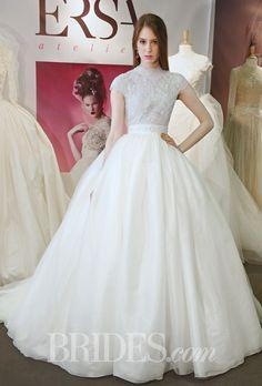 Modest short sleeve and high neck ballgown. Brides: Ersa Atelier   Spring 2015   Bridal Runway Shows   Brides.com | Wedding Dresses Style