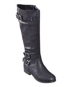 STEVEN ELLA INC Black Buckle Boot by STEVEN ELLA INC #zulily #zulilyfinds