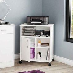 Printer Stand Mobile Office Home Fax Machine Table Paper Storage Cabinet Shelf  #SouthShore #Contemporary