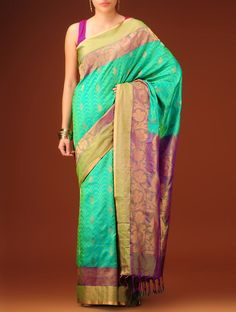 Sea Green-Violet Silk Saree on Jaypore.com