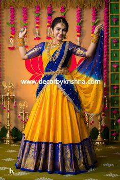 Half Saree Designs, Fancy Blouse Designs, Bridal Blouse Designs, Half Saree Lehenga, Lehenga Saree Design, Party Wear Indian Dresses, Indian Fashion Dresses, Bridal Sarees South Indian, Indian Bridal