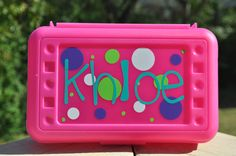 Personalized Polka Dot Pencil Box Art Box by customvinylbydesign, $11.00
