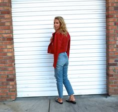 Yes You Can Wear A RED Moto Jacket - Jaclyn De Leon Style- pop of red + casual street style with edge + fall outfit inspiration + modern look + forever 21 + affordable fashion + distressed denim + embellished mules +