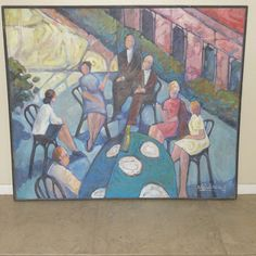 Large Mid Century Modern Post Impressionism painting signed by artist. #Postimpressionism