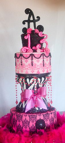 Perfect Pink Diva cake with edible jewels...loved it!