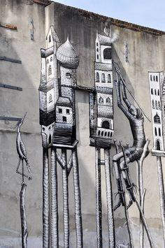 Bestiaire Le Street Art Monochrome De Phlegm Street Art And Artist - Awesome mechanical shark mural phlegm
