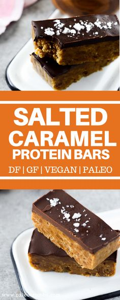 Salted Caramel Protein Bars {gf + df} - Allergy Friendly Crumbs - Rock in' Recipes - Dairy Free Protein Bars, Healthy Protein Snacks, Protein Bar Recipes, Snack Recipes, Diet Recipes, Vegan Snacks, Low Calorie Protein Bars, Paleo Protein Snacks, Paleo Bars