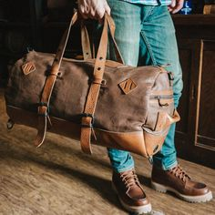 Say goodbye to cheap duffle bags and hello to the Roosevelt Large Travel Duffle Bag. You deserve a bag as tough as you. Canvas Duffle Bag, Leather Duffle Bag, Duffle Bag Travel, Canvas Backpack, Backpack Bags, Leather Wallet, Hunting Bags, Side Bags, Leather