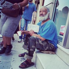 Man begging in chania