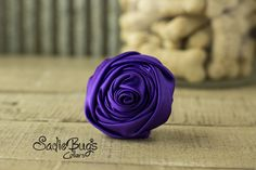 """Purple Rolled Satin Flower Collar Accessory - Small 1.5"""" Flower"""