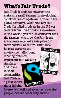 """Saved to """"media cache"""", Image Only, """"Fair Trade is an organized social movement and market based approach that aims to help producers in developing countries obtain better working conditions and minimize the environmental impact of production. Commerce Équitable, Fair Trade Coffee, Ethical Shopping, Fair Trade Fashion, Thinking Day, Ben And Jerrys, Global Economy, Human Trafficking, Consumerism"""