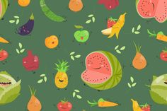 Seamless Background with Fruits and Vegetables  AI, EPS