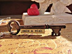 Message Pendant Key Make a Wish by RebeccasWhims on Etsy, $14.95